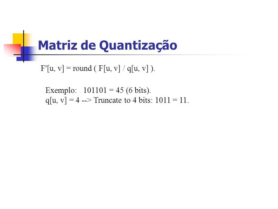 Matriz de Quantização F [u, v] = round ( F[u, v] / q[u, v] ).